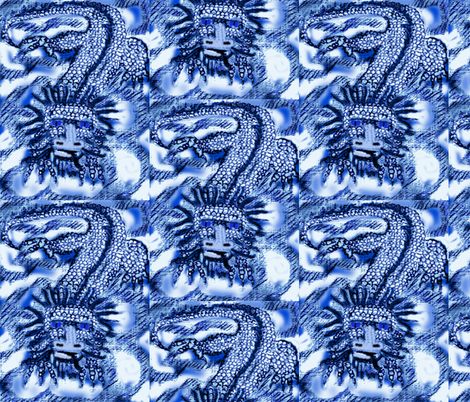 Blue Air Dragon-ed fabric by katawampus on Spoonflower - custom fabric