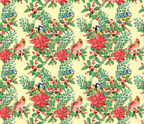 bird Tits and mistletoe fabric by mitrushovaart on Spoonflower - custom fabric