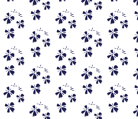 Blue flowers on white fabric by mesh_and_cloth on Spoonflower - custom fabric