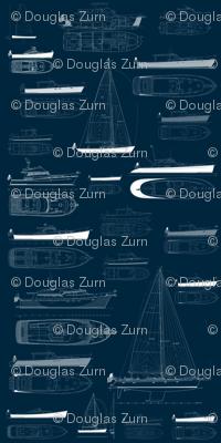 Zurn Yacht Design Wallpaper - White on Blue