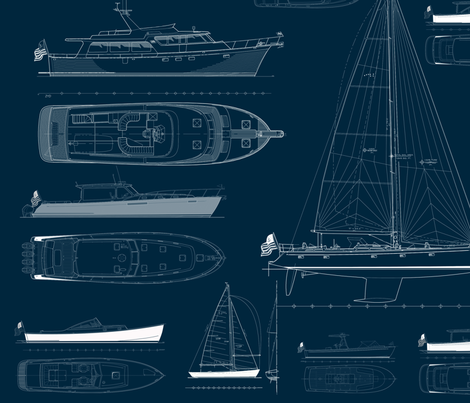 Zurn Yacht Design Wallpaper - White on Blue fabric by zurn_yacht_design on Spoonflower - custom fabric