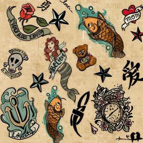 Whimsical Kids tattoo Inspired Print