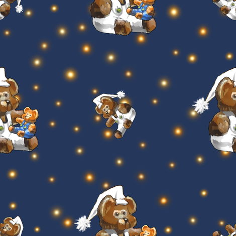 Bear-y Sleepy | Child Toy Bear Dreaming | Blue Orange White fabric by southwind on Spoonflower - custom fabric