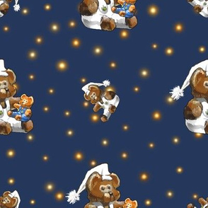 Bear-y Sleepy   Child Toy Bear Dreaming   Blue Orange White