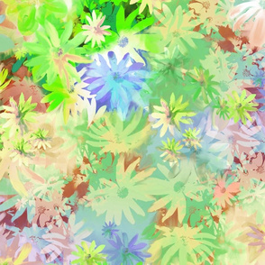 A bed of flowers green