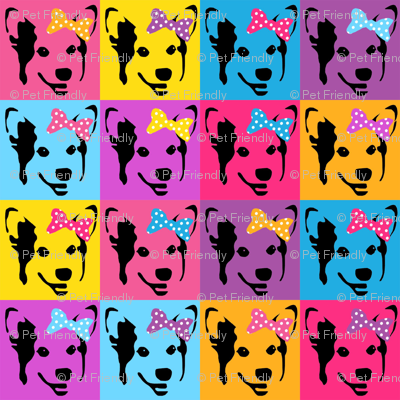 corgi pop art fabric - corgi with bows, corgi pop art, dog pop art, dog pop art fabric, corgi pop art cute, corgi blanket, corgi fabrics, corgi design - bright