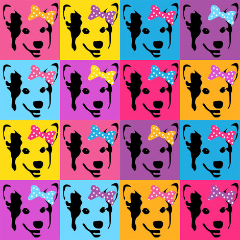 corgi pop art fabric - corgi with bows, corgi pop art, dog pop art, dog pop art fabric, corgi pop art cute, corgi blanket, corgi fabrics, corgi design - bright fabric by petfriendly on Spoonflower - custom fabric