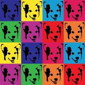 corgi pop art fabric - corgi with bows, corgi pop art, dog pop art, dog pop art fabric, corgi pop art cute, corgi blanket, corgi fabrics, corgi design - primary