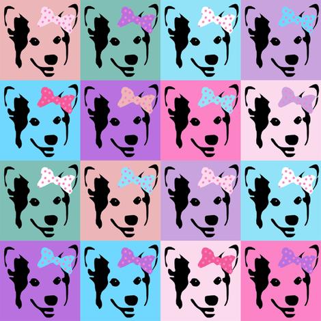 corgi pop art fabric - corgi with bows, corgi pop art, dog pop art, dog pop art fabric, corgi pop art cute, corgi blanket, corgi fabrics, corgi design - pastel fabric by petfriendly on Spoonflower - custom fabric