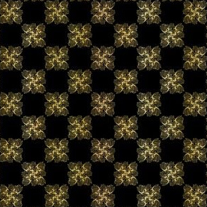 Luxe Gold Black Chess Board Style Pattern, Seamless Vector, Drawn Texture