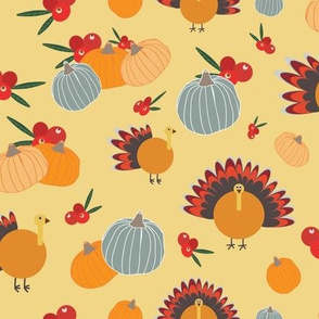 Orange retro Thanksgiving pattern