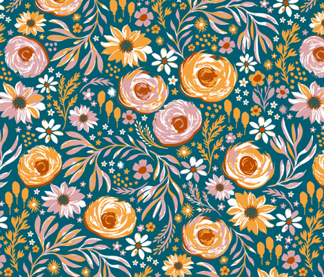 hand painted flower garden fabric by jill_o_connor on Spoonflower - custom fabric