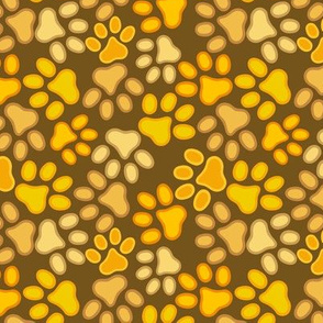 paws multi yellow spring summer repeat pattern