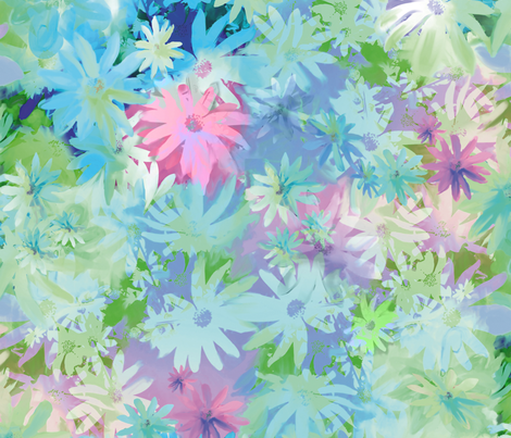 A bed of flowers blue fabric by odettel on Spoonflower - custom fabric