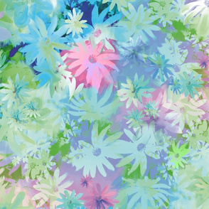 A bed of flowers blue