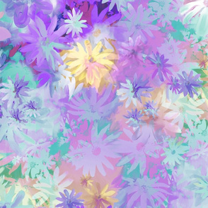 A bed of flowers purple