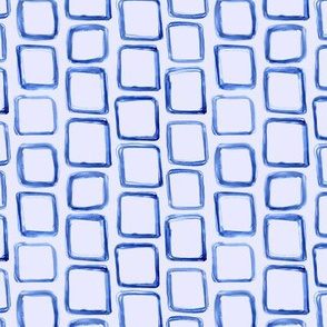 Blue on blue watercolor hand-drawn squares