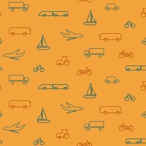 transportation pattern yellow- small