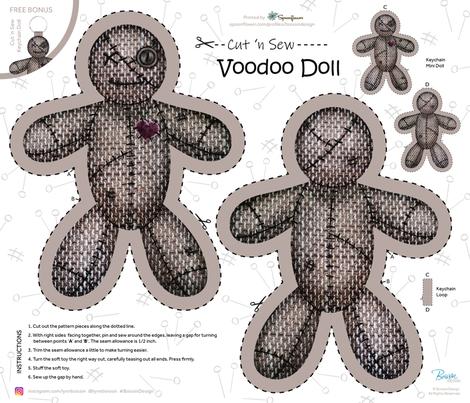 "Voodoo Doll / Cut 'n Sew / FQ 21"" x 18"" fabric by boissindesign on Spoonflower - custom fabric"
