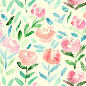 Warm watercolor flowers || vintage pattern for nursery, baby products