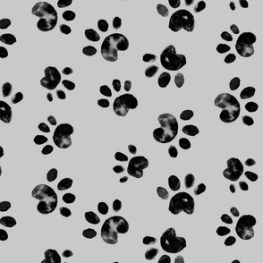 Black Paw Print on Gray