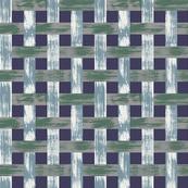 Woven Lattice Blue Green White Grey