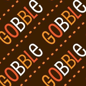 Thanksgiving Turkey Gobble Gobble Thanksgiving Pattern Diagonal Brown Fall Colors