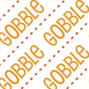 Thanksgiving  Turkey Gobble Gobble Thanksgiving Pattern Diagonal Gold Orange