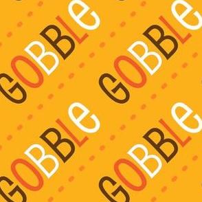 Thanksgiving  Turkey Gobble Gobble Thanksgiving Pattern Diagonal Gold