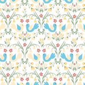 yellow and blue birds pattern