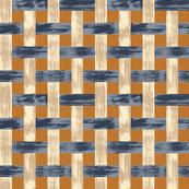 Woven Lattice Rust Tan Blue