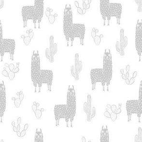 llama fabric - cute llama fabric , llama fabric by the yard, llama quilting fabric, animals fabric, nursery fabric, nursery fabric by the yard, andrea lauren design - grey