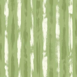 Brush Stroke Stripes Green  White