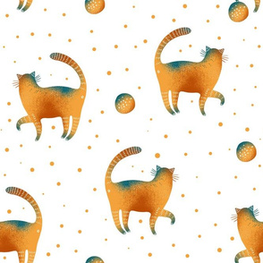 Cute cats with balls