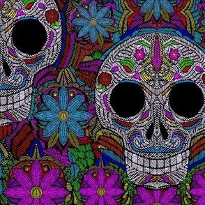 Sugar Skull embroidery smaller