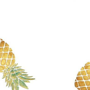 Watercolor Pineapple (White) / Large Scale