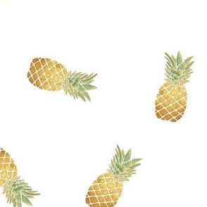 Watercolor Pineapple (White) / Medium Scale