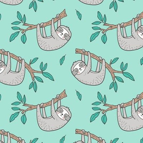 Sloth Sloths on Tree Branch with Leaves on Mint Green Smaller