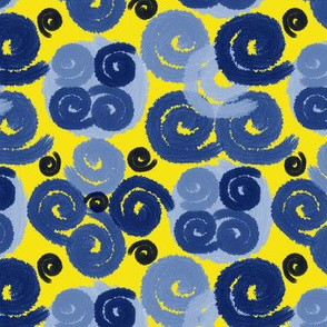 Blue Spirals on Yellow