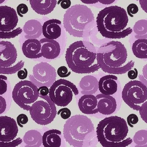 Purple Spirals on Light Gray
