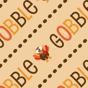 Thanksgiving  Turkey Gobble Gobble Thanksgiving Pattern Diagonal Light Brown