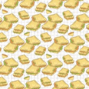 Filled Bread Slices Seamless Vector Pattern, Hand Drawn Food Illustration of Healthy Filled Bread Slices for Cafe Restaurant Menu Backgrounds, Kitchen Decor, Nutrition Posters, Breakfast Packging