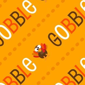 Thanksgiving  Turkey Gobble Til You Wobble Thanksgiving Pattern Diagonal Gold
