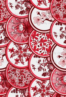 Red plates tea towel