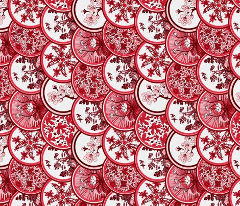 Red plates tea towel fabric by leroyj on Spoonflower - custom fabric