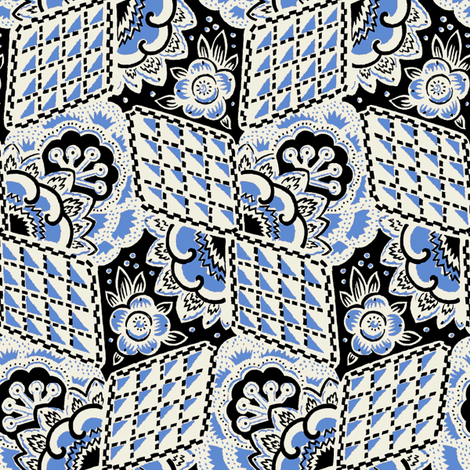 Fleurs à Carreaux 1c fabric by muhlenkott on Spoonflower - custom fabric
