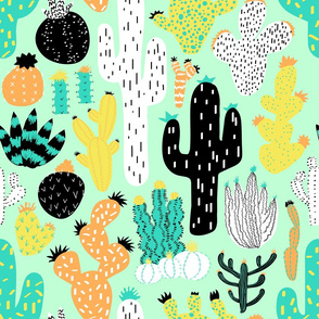 Cactus Crazy in Mint - Large Scale