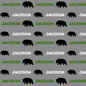 black bear pair on gray - PERSONALIZED green white for JACKSON