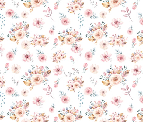 Summer Floral Blooms with Stems and Petals fabric by hudsondesigncompany on Spoonflower - custom fabric