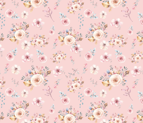 Pretty Pink Spring Blooms fabric by hudsondesigncompany on Spoonflower - custom fabric